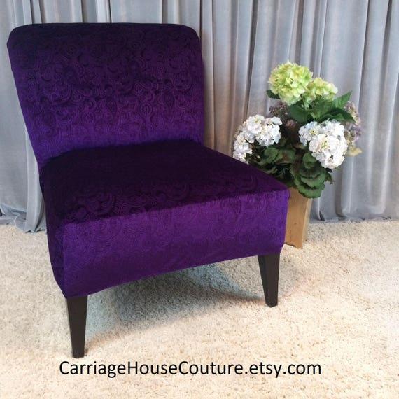 Plum Purple Embossed Velvet Slipcover Chair Cover For