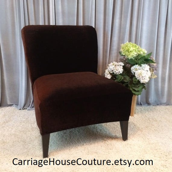 Slipcover Brown Velvet Chair Cover For Armless Chair