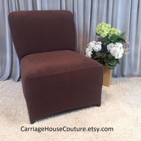 Fantastic Slipcover Brown Suede Stretch Chair Cover For Armless Chair Slipper Chair Armless Accent Chair Parsons Chair Side Chair Alphanode Cool Chair Designs And Ideas Alphanodeonline