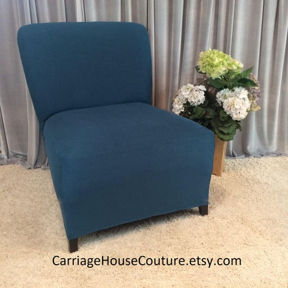 Brilliant Slipcover Teal Suede Chair Cover For Armless Chair Slipper Chair Armless Accent Chair Parsons Chair Side Chair Accent Chair Gmtry Best Dining Table And Chair Ideas Images Gmtryco