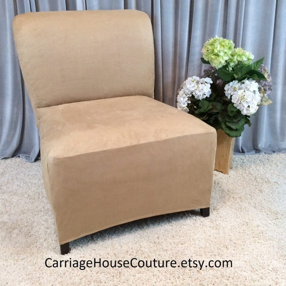 Merveilleux Slipcover Beige Suede Stretch Chair Cover For Armless Chair | Etsy