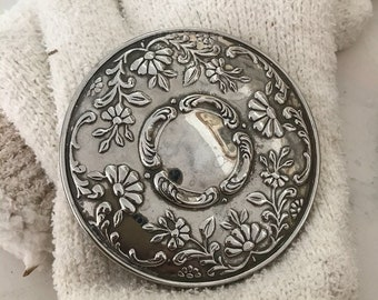 Vintage Silver Compact Purse Makeup Mirror