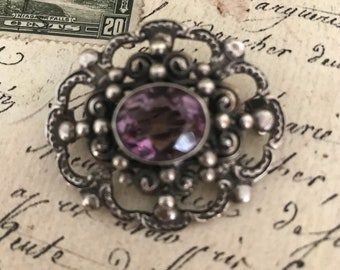 Vintage Peruzzi Brooch Pin/Silver 800/Italy/Amethyst Stone