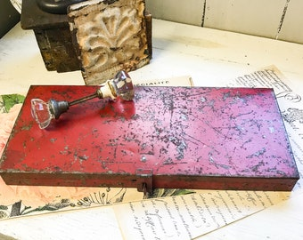 Vintage Farmhouse Red Industrial Tool Box