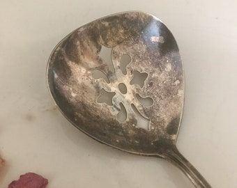 National Silver Co. Slotted Spoon*Shabby Chic Cottage Farmhouse Decor
