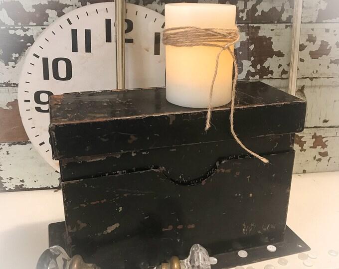 Featured listing image: Vintage Metal File Box...Farmhouse Industrial Salvage Decor