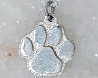 Double sided paw prints \u2022 Your pet/'s actual paw print personalized pendant necklace in solid .925 sterling silver \u2022  Remembrance memorial