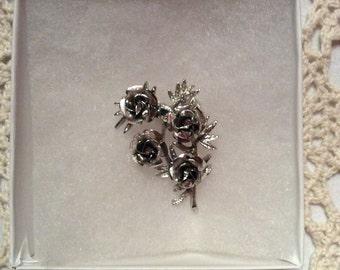 Glistening Coro Silver Tone Rose Bush Pin