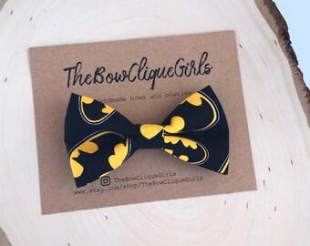 Batman bow tie. Black and yellow bat symbols. Dad and son bowties