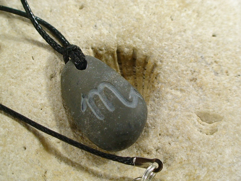 Mens Scorpio Necklace Engraved Beach Pebble Pendant With