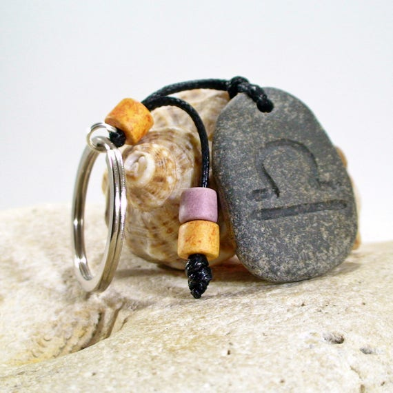 Libra Keychain Engraved Beach Pebble With Zodiac Sign