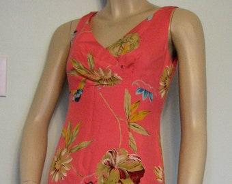 b9d8e668430 Vintage Dress Donna Morgan Size 4 Petite Hawaiian Floral Midi Salmon