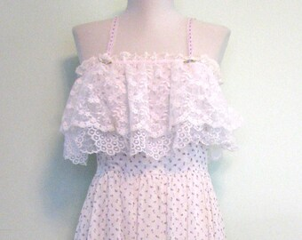 1970s Dress Gown Boho Lace Dress Candi Jones Praire Long Dress Lace Maxi