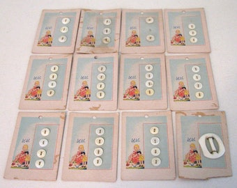 1920s Buttons Bluebird Graphics 12 Cards Buckle Set