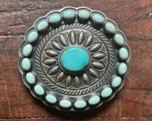 Navajo Sterling Silver and Turquoise Belt Buckle Hand Stamped Silver Signed Vintage Art Jewelry Darrel Cadman Dry Creek Old Pawn Dead Pawn