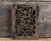 Antique Cast Iron Heater Grate signed 1869 W.G CREAMER Victorian Era Architectural Salvage Antiques Floor Register Heat Vent Louvered Doors