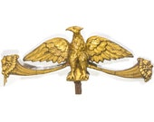 Antique Carved Giltwod Eagle Pediment Architectural Salvage Piece Federal Carving Vintage Wall Decor Art American Americana Painted Gilded