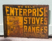 Antique Stove Advertising Sign Enterprise Stoves and Ranges Flange Signage Metal Rusty Barn Find Primitive Americana Industrial Wall Decor