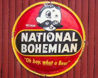 aa4fb50f2 Antique National Bohemian Beer Sign 41'' Large Bubble Bottle Cap Sign Natty  Boh Man Oh Boy What a Beer Sign Baltimore Maryland Advertising