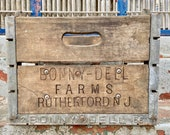 Antique Wooden Milk Crate, Vintage Wood Milk Box, BONNY DELL FARMS Rutherford New Jersey, Steel Corners, Bottle Insert, Dairy Advertising