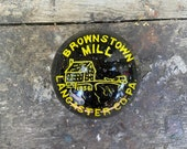 Vintage Glass Paperweight BROWNSTOWN MILL Lancaster PA 1856 Historic Home Amish Country Horse Carriage Antique Paper Weight Pennsylvania