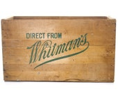 Whitman 39 s Chocolate Crate, Antique Advertising Crate, Wooden Box, Shipping Crate Coffee Table, Vintage Storage, Industrial Decor Design