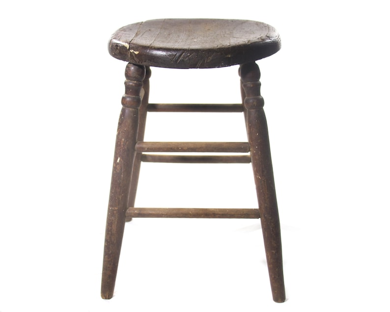 Magnificent Antique Wooden Stool Plank Wood Milking Tool Primitive Seat Haywood Wakefield Chair Old Fashioned Rustic Furniture With Patina Vintage Style Pabps2019 Chair Design Images Pabps2019Com