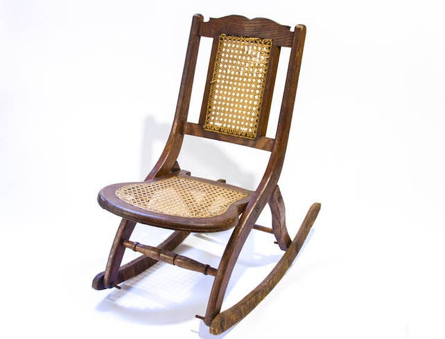 image 0 - Antique Childs Rocking Chair Folding Rocking Chair Rattan Seat Etsy