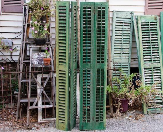 Antique Shutters Wooden Louvered Shutter Doors Folding Etsy