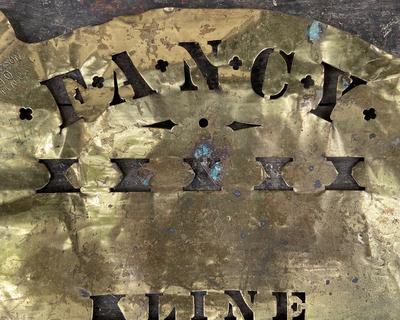 Antique Brass Stencil 1800s Primitive Advertising Decor C.Y KLINE FANCY Collectible Sign Old Fashioned Box Stencil R Ross Park Place NYC