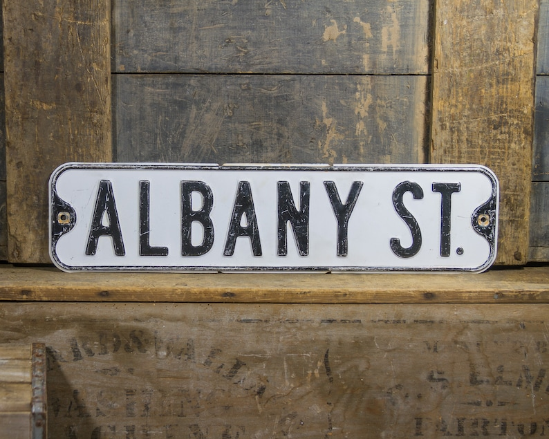 Old Fashioned Sign Street Sign Albany Street Sign Wall Decor Etsy