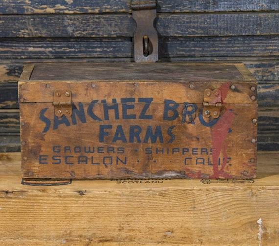Vintage Farmhouse Wooden Box With Lid Sanchez Farms Antique Wooden Crate Old Fashioned Wood Box Farm House Style Rustic Antiques Farm Decor