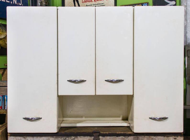 Vintage Metal Kitchen Cabinets Mid Century Modern Upper Cabinet Large Steel Cabinets Chrome Handles 1950s Kitchen Retro Decor Huge Cupboard