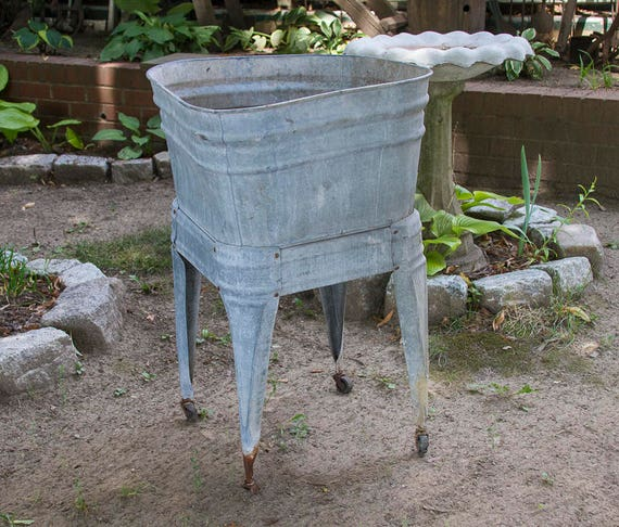 Antique Galvanized Wash Tub With Stand No 2 Wash Pot Shabby Etsy