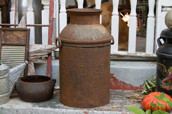 Antique Milk Can Distressed Milk Jug Old Farmhouse Antiques Etsy
