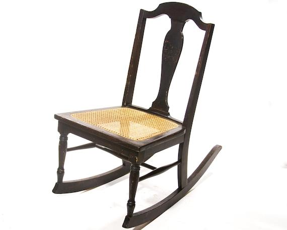 Sensational Antique Rocking Chair Rattan Seat Small Childs Rocker Childrens Furniture Primitive Wood Rustic Home Decor Old Fashioned Vintage Style Spiritservingveterans Wood Chair Design Ideas Spiritservingveteransorg