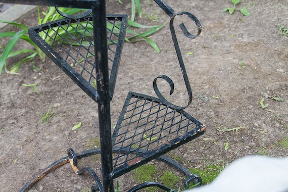 Awesome Vintage Spiral Staircase Plant Stand Black Wrought Iron With | Etsy