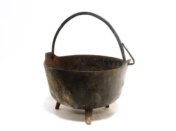 Seltene antike Guss Eisen Kessel LS Speck 1700s 1800s 3