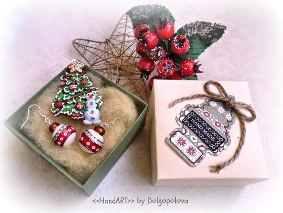 Polymer Clay Christmas Jewelry.Christmas Ornaments Earrings Christmas Tree Brooch Polymer Clay Jewelry Christmas Gift Ideas Snowman Brooch Winter Jewelry