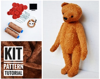 Make Your Own Teddy Sewing Kit Kid/'s Complete Teddy Craft Kit Brown Teddy Bear Kit Brown Patchwork Bear Sewing Kit