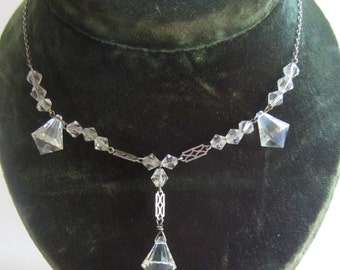 Silver and crystal 1930's vintage necklace