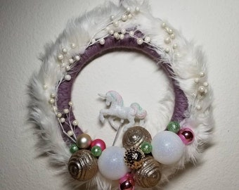 Big Fancy Faux Fur & Unicorn Wreath︴Winter Wreath︴Unicorn Home Decor︴Christmas Unicorn Wreath︴Unicorn Holiday Wreath︴Unique Gift for Friend