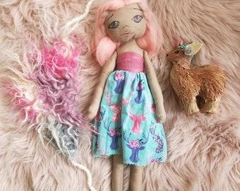 OOAK Handmade Forest Girl Cloth Doll with Deer Friend