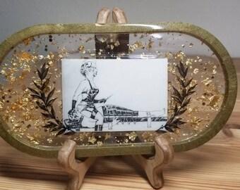 Resin Tray with Vintage Fetish Illustration of Nurse with Needle︴Fetish Rolling Tray︴Face Sitting Art︴Naughty Nurse Tray︴FREE SHIPPING