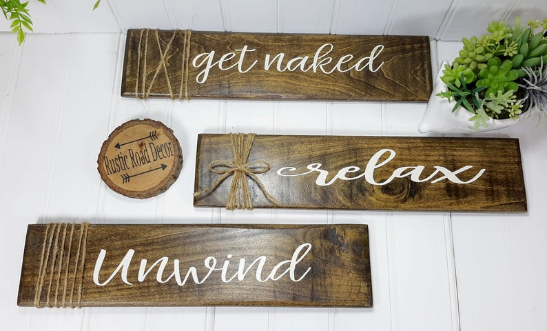 Distressed Rustic Bathroom Wood Signs Set of 3 Get Naked Unwind Relax