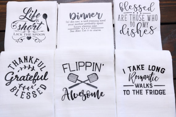 Funny Kitchen towels flour sack towels Bless This Kitchen large lint free cotton towels with sayings