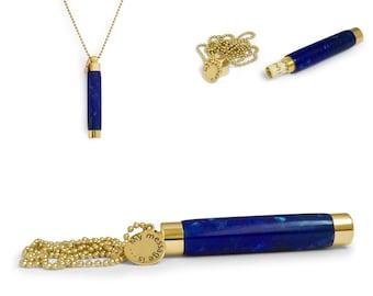 Hidden Message Necklace - Secret Message Necklace - Personalized Necklace - Stash Necklace - Vial Necklace - Étui Necklace - Blue Crush
