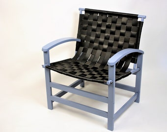 Scandinavian Chair, wooden armchair with recycled seatbelts, Designer Chair