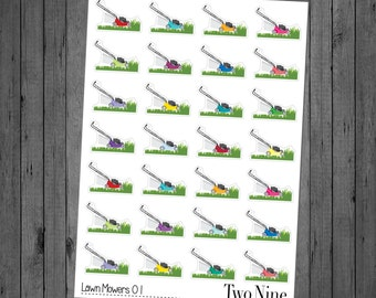 Lawn Mower Planner Stickers, Lawn Care Stickers, Household Stickers, Chore Stickers