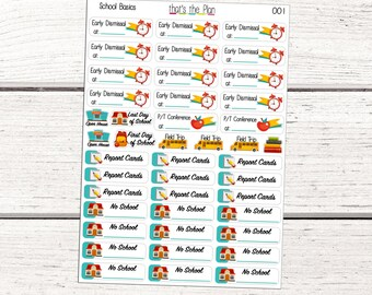 School Basics Stickers, School Planner Stickers, No School Stickers, Back to School Planner Stickers